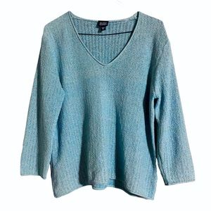 Eileen Fisher Silk Blend Light Blue V Neck Sweater